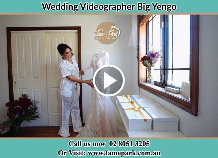 The Bride checking her bridal gown Big Yengo NSW 2330