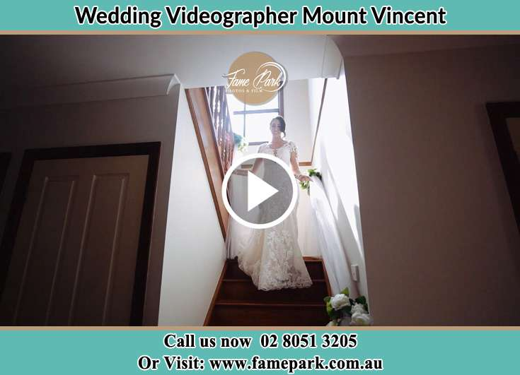The Bride walking downstairs Mount Vincent NSW 2323