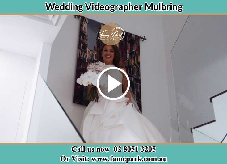 The Bride walking downstairs Mulbring NSW 2323